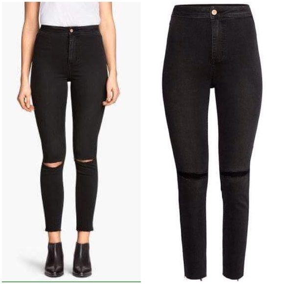 wax jeggings size 8 black h/&m stock brand new